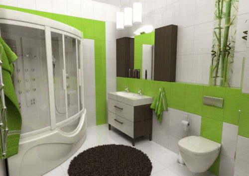 зеленая и белая плитка в ванной комнате