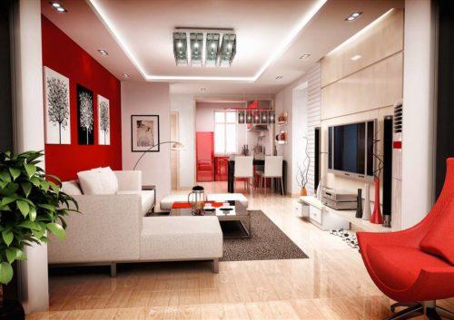интерьер квартиры в красных тонах